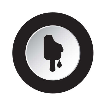 round isolated black and white button icon - melting stick ice cream