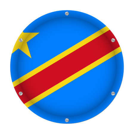 round metallic flag - Democratic Republic of the Congo with six screws in front of a white background Vetores