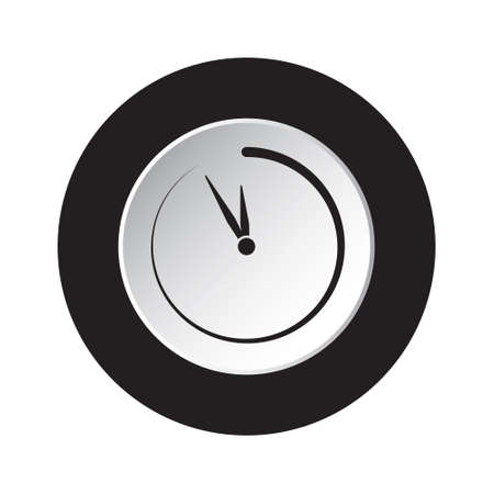 round isolated black and white button icon with last minute clock