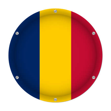 round metallic flag of Chad with six screws in front of a white background Vettoriali