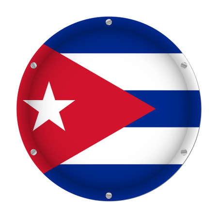 round metallic flag of Cuba with six screws in front of a white background Иллюстрация