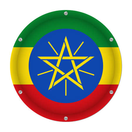 round metallic flag of Ethiopia with six screws in front of a white background