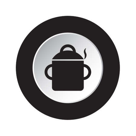 round isolated black and white button icon - cooking pot with smoke Archivio Fotografico - 111551919