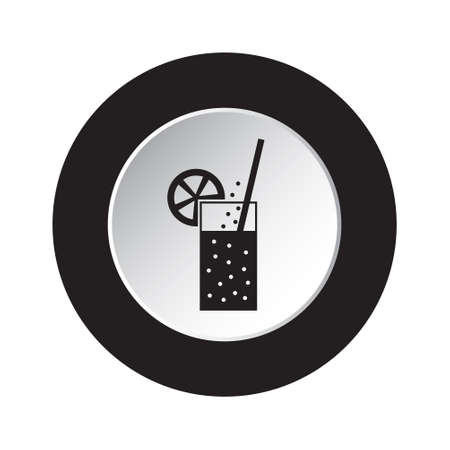 round isolated black and white button icon - glass with carbonated drink, straw and citrus