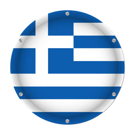 round metallic flag of Greece with six screws in front of a white background