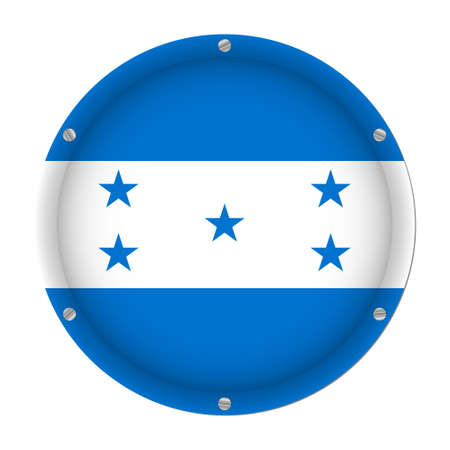 round metallic flag of Honduras with six screws in front of a white background