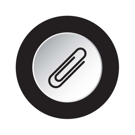 round isolated black and white button icon - paper clip, paperclip