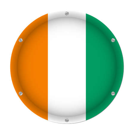 round metallic flag of Ivory Coast with six screws in front of a white background