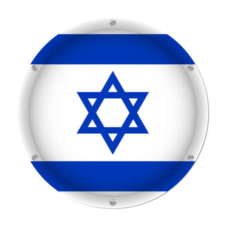 round metallic flag of Israel with six screws in front of a white background