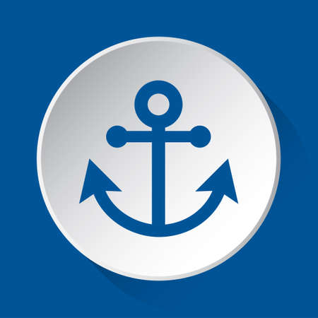 boat anchor - simple blue icon on white button with shadow in front of blue square background