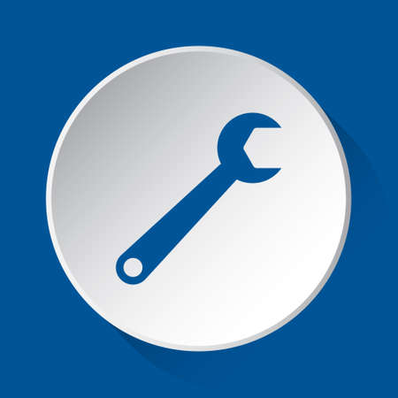 spanner, simple blue icon on white button with shadow in front of blue square background