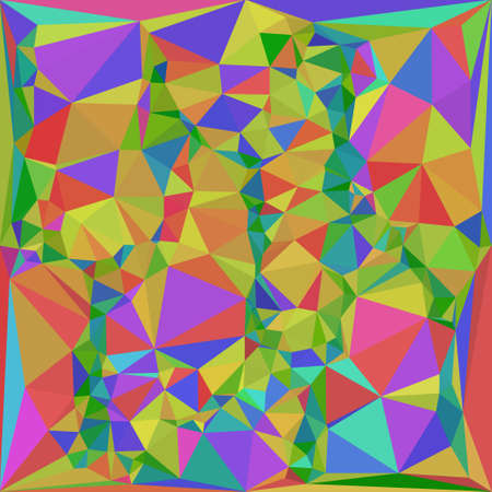 triangular multicolor abstract stained glass grid in shades of green, yellow, purple, orange and other Illustration