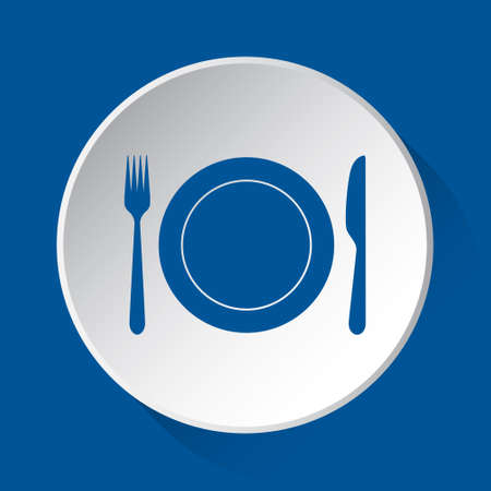 cutlery, fork and knife with plate - simple blue icon on white button with shadow in front of blue square background
