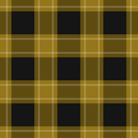 seamless pattern - black, dark and bright yellow, ocher tartan, tablecloth with white stripes