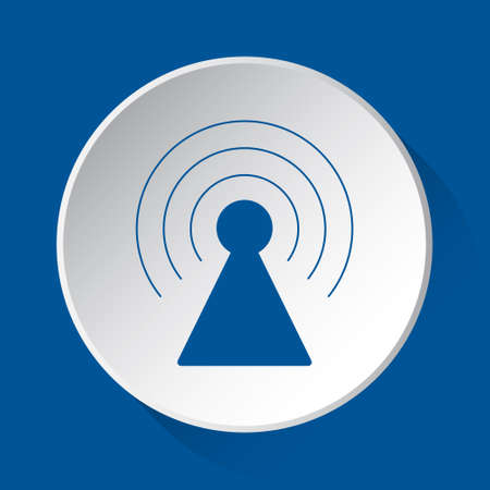 transmitter tower - simple blue icon on white button with shadow in front of blue square background