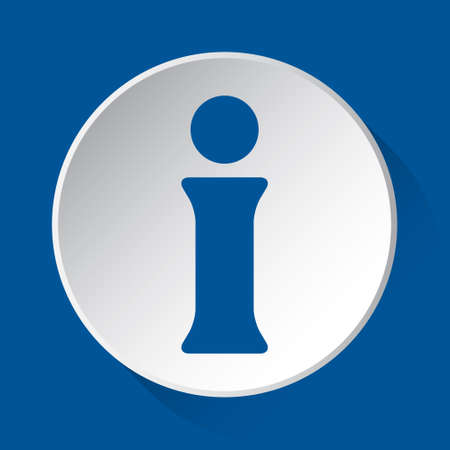 information symbol - simple blue icon on white button with shadow in front of blue square background