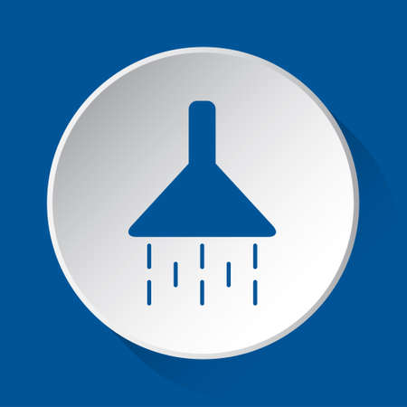 shower - simple blue icon on white button with shadow in front of blue square background Illustration