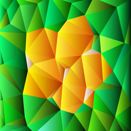 triangular multicolor abstract stained glass grid in shades of green, yellow, orange and pink