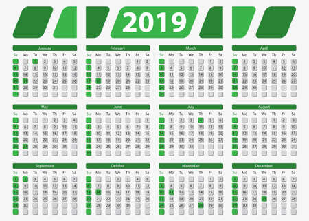 USA horizontal calendar 2019, 5x7 inches - official holidays and non-working days, week starts on sunday