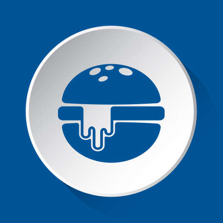 hamburger with melted cheese - simple blue icon on white button with shadow in front of blue square background