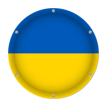 round metallic flag of Ukraine with six screws in front of a white background Фото со стока - 126473230