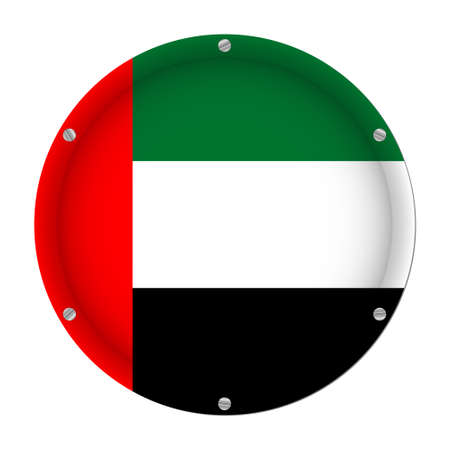 round metallic flag of United Arab Emirates with six screws in front of a white background