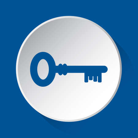 key, simple blue icon on white button with shadow in front of blue square background  イラスト・ベクター素材