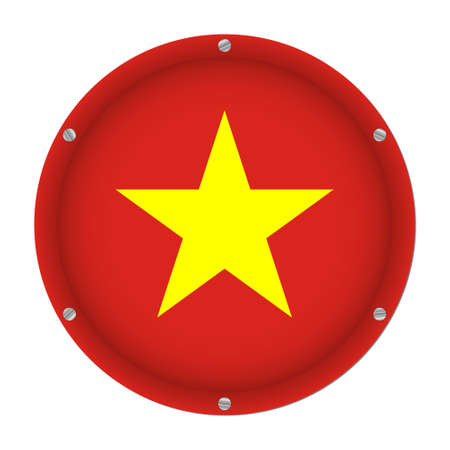 round metallic flag of Vietnam with six screws in front of a white background  イラスト・ベクター素材