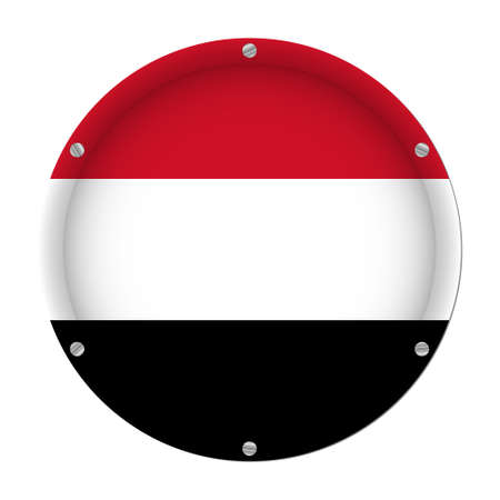 round metallic flag of Yemen with six screws in front of a white background