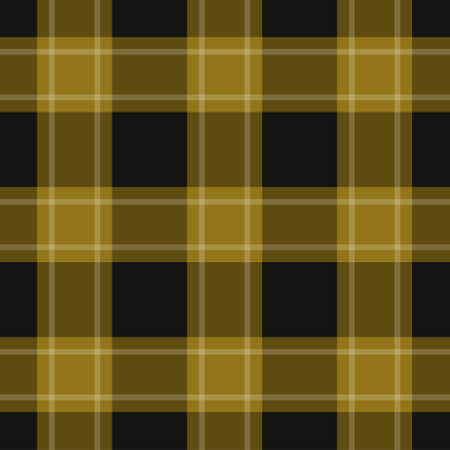 seamless pattern - black, dark and bright yellow, ocher tartan, tablecloth with white stripes