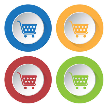 set of four round colored buttons and icons - shopping cart