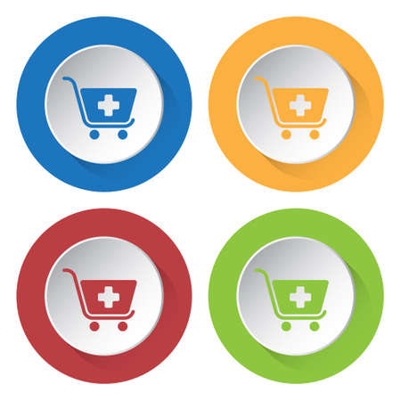 set of four round colored buttons and icons - shopping cart plus, add  イラスト・ベクター素材