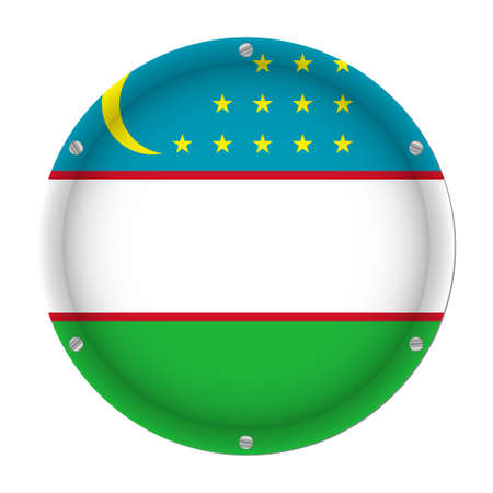 round metallic flag of Uzbekistan with six screws in front of a white background Фото со стока - 126473239
