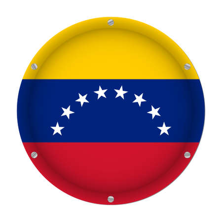 round metallic flag of Venezuela with six screws in front of a white background