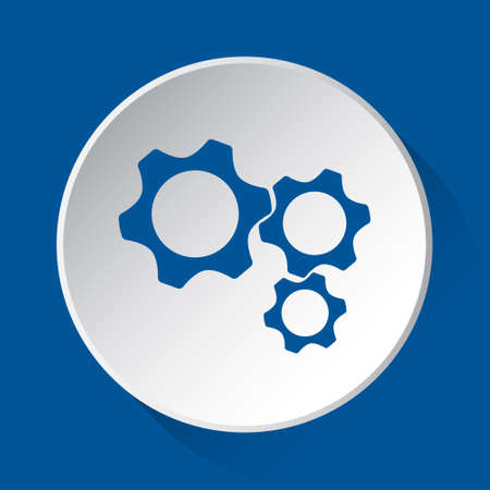 three cogwheel - simple blue icon on white button with shadow in front of blue square background