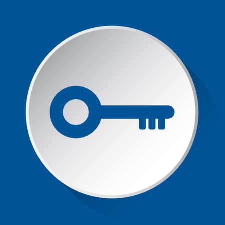 key - simple blue icon on white button with shadow in front of blue square background