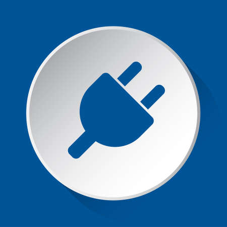 parallel electrical plug symbol - simple blue icon on white button with shadow in front of blue square background