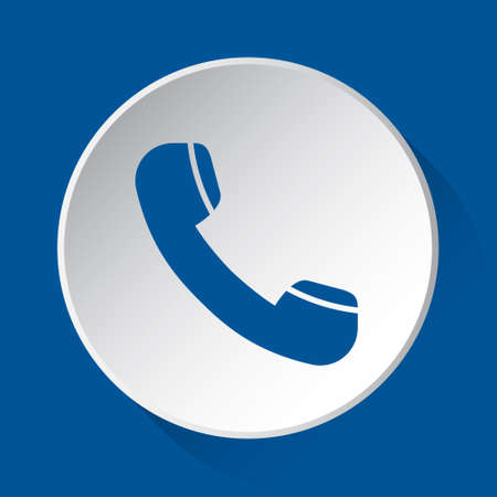 old telephone handset - simple blue icon on white button with shadow in front of blue square background