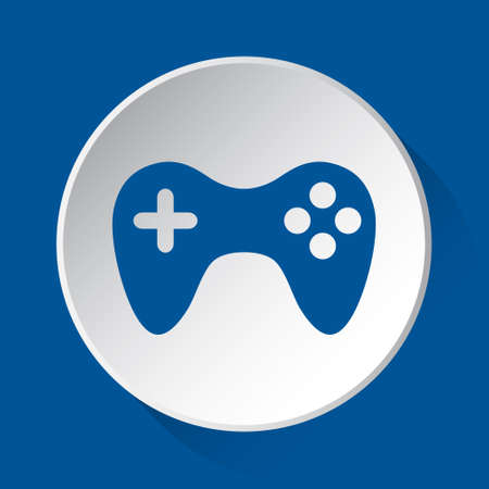 gamepad - simple blue icon on white button with shadow in front of blue square background  イラスト・ベクター素材
