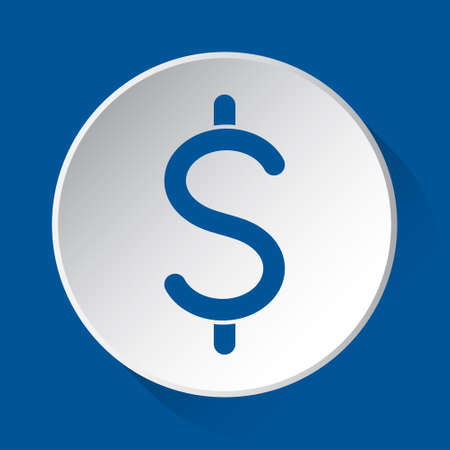 dollar currency symbol - simple blue icon on white button with shadow in front of blue square background  イラスト・ベクター素材