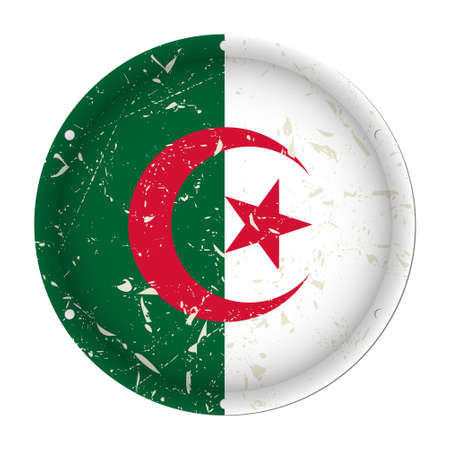 Algeria - round metallic scratched flag with six screw holes in front of a white background