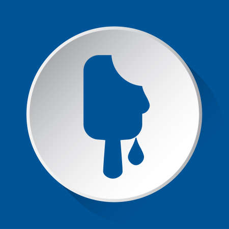 melting stick ice cream - simple blue icon on white button with shadow in front of blue square background