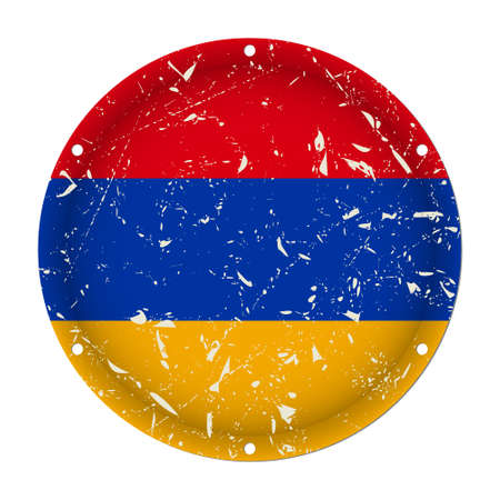 Armenia - round metallic scratched flag with six screw holes in front of a white background Фото со стока - 125910392
