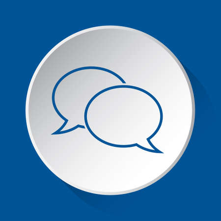 two outline speech bubbles - simple blue icon on white button with shadow in front of blue square background  イラスト・ベクター素材