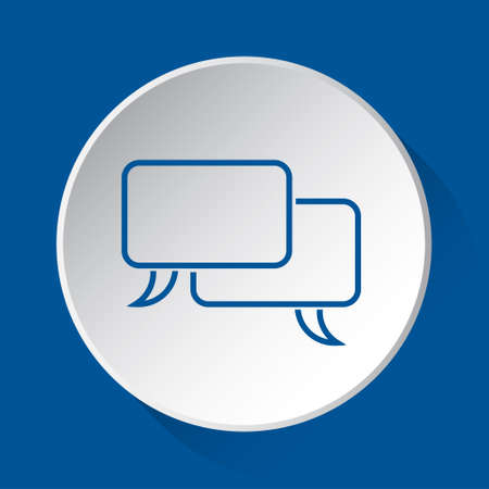 two outline speech bubbles, simple blue icon on white button with shadow in front of blue square background