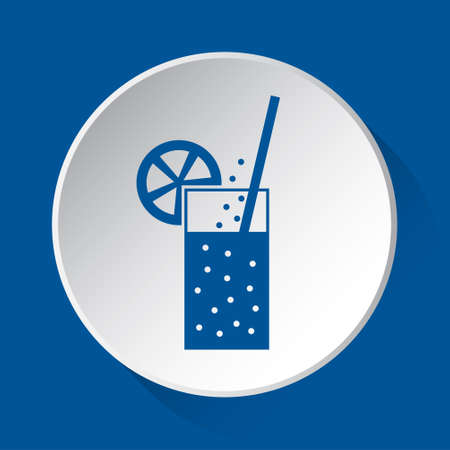glass with carbonated drink, straw, citrus - simple blue icon on white button with shadow in front of blue square background