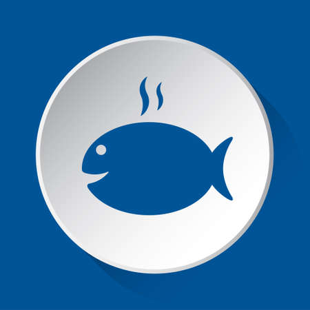 grilling fish with smoke - simple blue icon on white button with shadow in front of blue square background Stock Illustratie