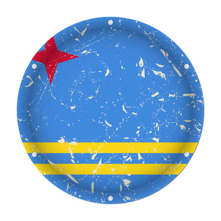 Aruba - round metallic scratched flag with six screw holes in front of a white background  イラスト・ベクター素材
