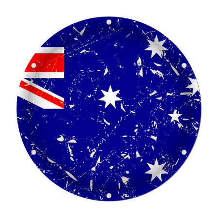 Australia - round metallic scratched flag with six screw holes in front of a white background Фото со стока - 125910399
