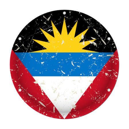 Antigua and Barbuda - round metallic scratched flag with six screw holes in front of a white background Фото со стока - 125910400